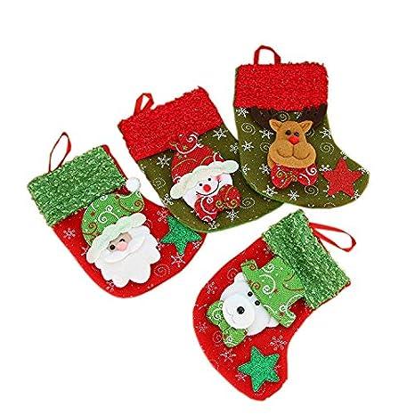 Como Decorar Calcetines Para Navidad.Vlunt 4pcs Calcetines De Navidad Pequeno 10 X 16cm Calcetines Navidenos Para Decorar Casa Media De Navidad Decoracion
