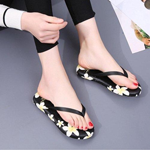 Sandalias para Mujer, RETUROM Verano mujeres flip-flops flor impresa zapatos de playa de arena negro