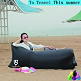 Leeberry® Portable Outdoor Fast Inflatable Couch,Inflatable Lounger Sleeping Air Bed Hangout Bag 400lb Bearing 90 inches for Summer Camping Beach,Hiking(Black)