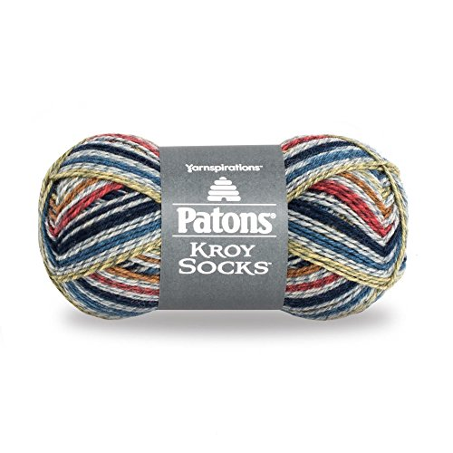 Patons  Kroy Socks Yarn - (1) Super Fine Gauge  - 1.75 oz -  Blue Striped -   For Crochet, Knitting & Crafting Blue Stripe Wool Hat