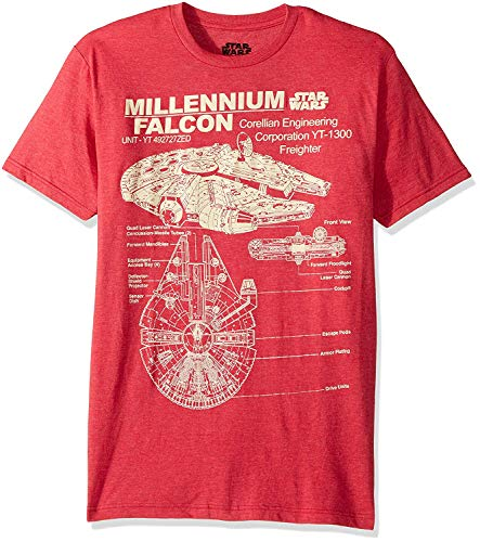 Star Wars Men's Millennium Falcon Detailed Drawing T-Shirt, Red Heather, X-Large (Lego Star Wars Shirt)