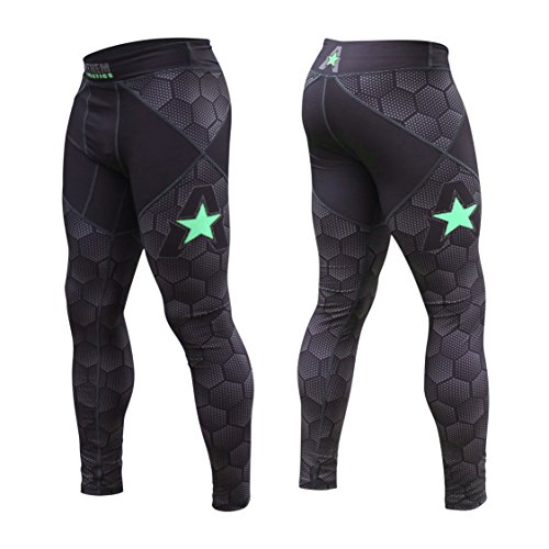 Anthem Athletics - 10+ Styles - HELO-X Grappling Spats Compression Pants Tights - BJJ, MMA, Muay Thai - Black Hex with Green - Large ()