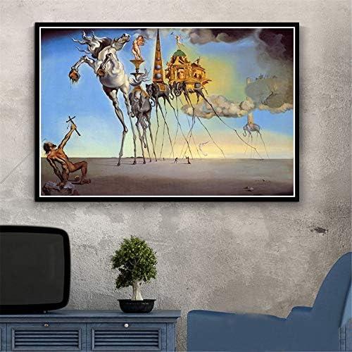 zhuziji DIY Pintar por números Pintura psicodélica Retro Salvador Dali Surrealismo Arte de la Pared Resumen Pintar por numeros Caballos con Pincel y Pintura acrílica Ki40x60cm(Sin Marco)