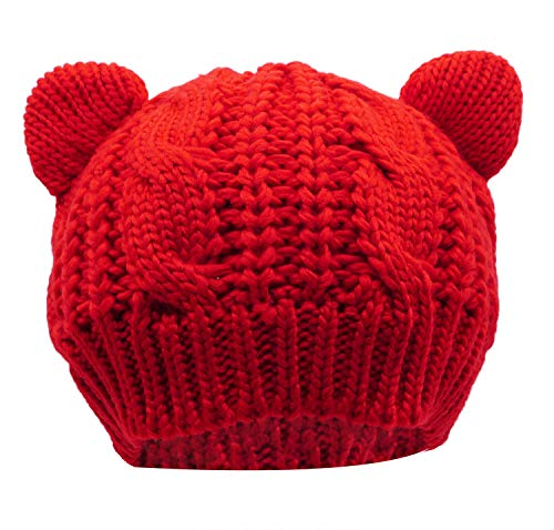 (Women's Hat Cat Ear Crochet Braided Knit Caps, Red)