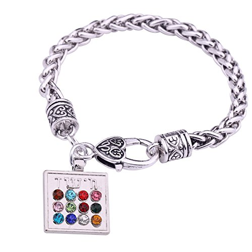 Vassago Ancient Amulet Judaic Hoshen 12 Tribes of Israel Breastplate of The High Priest Pendant Jewish Wheat Chain Bracelet (Colorful)