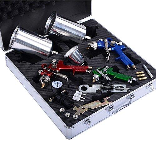 Goplus hvlp air spray gun kit 3 sprayguns auto paint for Best automotive paint gun