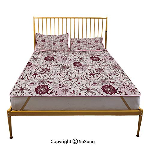 (Floral Creative Queen Size Summer Cool Mat,Exquisite Floral Inspired Vibrant Toned Branch Artsy Blush Baroque Curls Image Decorative Sleeping & Play Cool Mat,Maroon Rose)