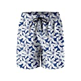 Elxie06 Navy White Tropical Hibiscus Floral Mens Quick Dry Beach Shorts Drawstring