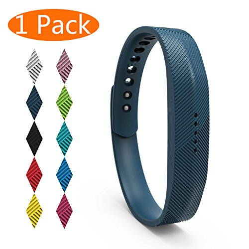 KingAcc Compatible Fitbit Flex 2 Bands, Soft Silicone Replacement Band for Fitbit Flex 2, with Metal Buckle Fitness Wristband Sport Strap Women Men Large Small Black, White, Gray, Blue, Pink