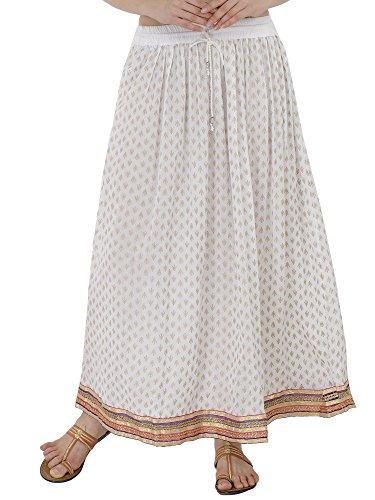 SKAVIJ Indien longueTaille Elastique Femme Jupe imprime Coton Fleurie Plage Jupon Classique bohme Ethnique Maxi Unique utile Cadeau pour Dames Blanc