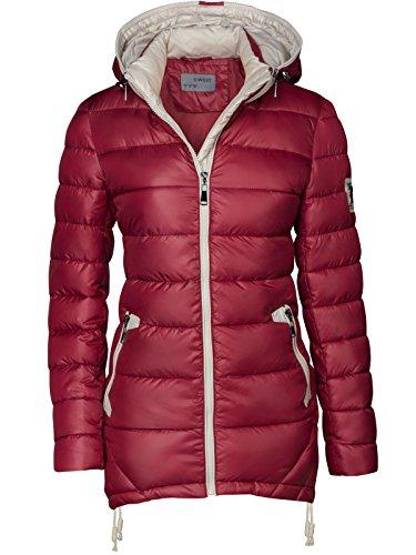 chaqueta abrigo mujer capucha cremallera con con para parka borgoña largo para Chaqueta acolchado entretiempo FfqYAw