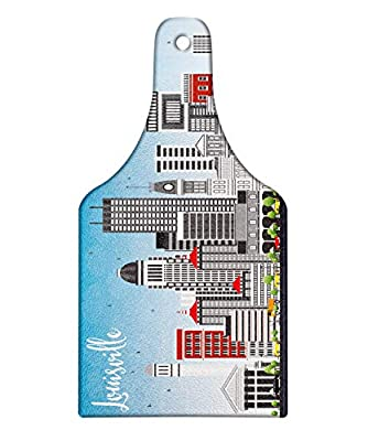 Lunarable Kentucky Cutting Board, Southern State in Cartoon Design Cars and Buildings Architecture Travel Theme, Decorative Tempered Glass Cutting and Serving Board, Wine Bottle Shape, Multicolor