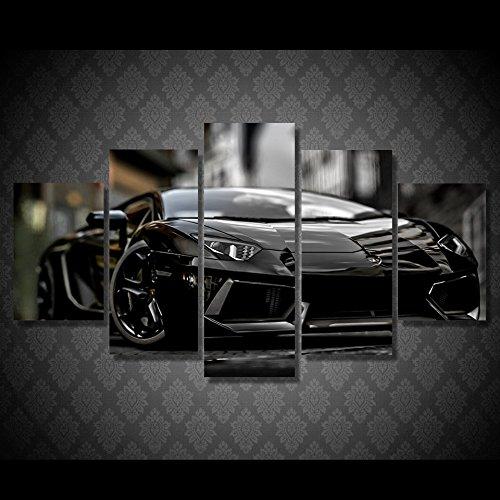 Lamborghiniブラック車印刷キャンバス装飾5ピース B01N4BCWWZ