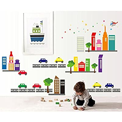 Citys Scenery Trees Cars Buildings Night Lighting Wall Decal PVC Home Sticker House Vinyl Paper Decoration WallPaper Living Room Bedroom Art Picture DIY Murals Girls Boys kids Nursery Baby Playroom