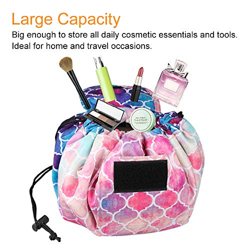 Cosmetic Bag Lazy Makeup Organizer, Fintie Waterproof Portable Drawstring Large Capacity Travel Toiletry Storage Pouch Case for Women Girls, Moroccan Love by Fintie (Image #4)
