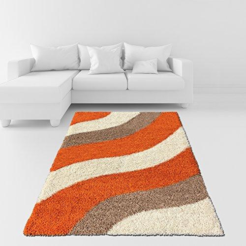Soft Shag Area Rug 5x7 Geometric Striped Orange Ivory Grey