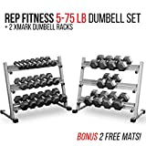 Rep Fitness Rep 5-75 lb Rubber Hex Dumbbell Set with 2 Racks and 2 Free Rubber Mats For Sale
