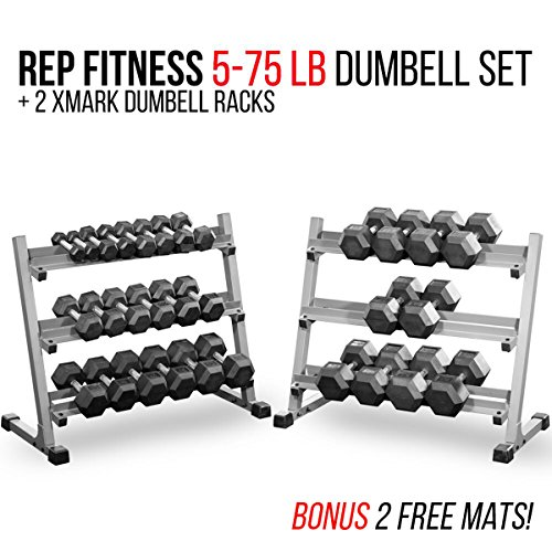 Rep Fitness Rep 5-75 lb Rubber Hex Dumbbell Set with 2 Racks and 2 Free Rubber Mats