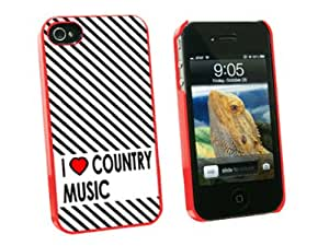 Graphics and More I Love Heart Country Music Snap-On Hard Protective Case for Apple iPhone 4/4S - Non-Retail Packaging - Red