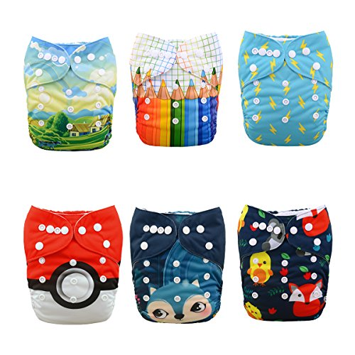 ALVABABY New Positioning and Printed Design Reuseable Washable Pocket Cloth Diaper 6 Nappies + 12 Inserts 6DM42