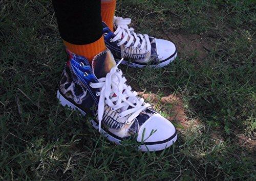 ThiKin 3Dプリント スニーカー メンズ ブラック キャンバス 食べ物 柄 カジュアル 靴 シューズ 動物柄 人気 個性的 軽量 通気 おしゃれ ファッション 通勤 通学 プレゼント レディーズ