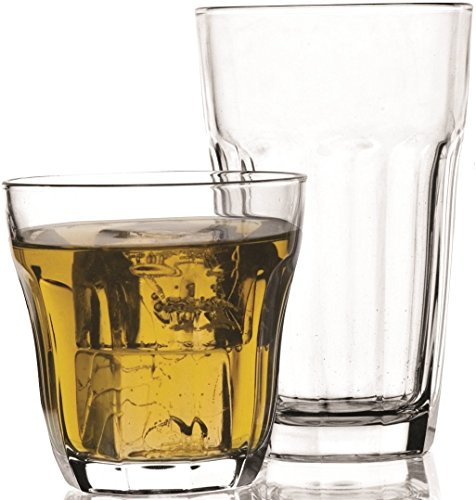 Circleware Rockford Set Of 16 Drinking Glasses Set  8 12 Ounce And 8 10 Ounce Double Old Fashioned Glasses
