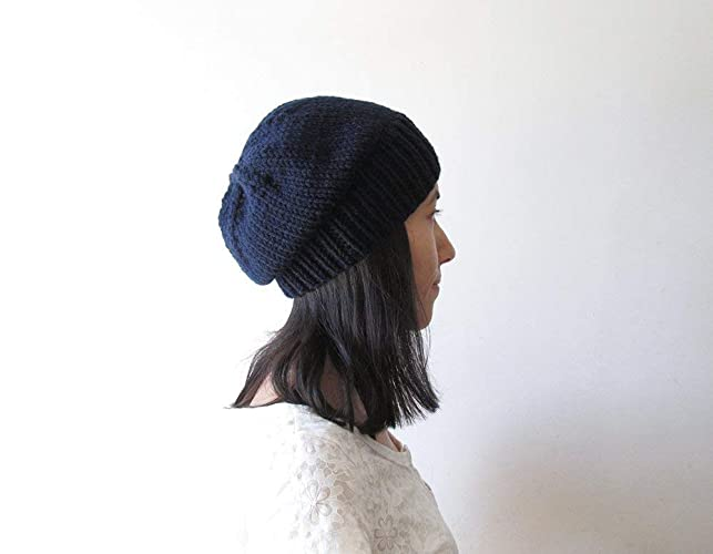 bc03bcad8 Amazon.com: Navy Blue Slouchy Hat, Women Knit Hat, Mens Slouchy ...