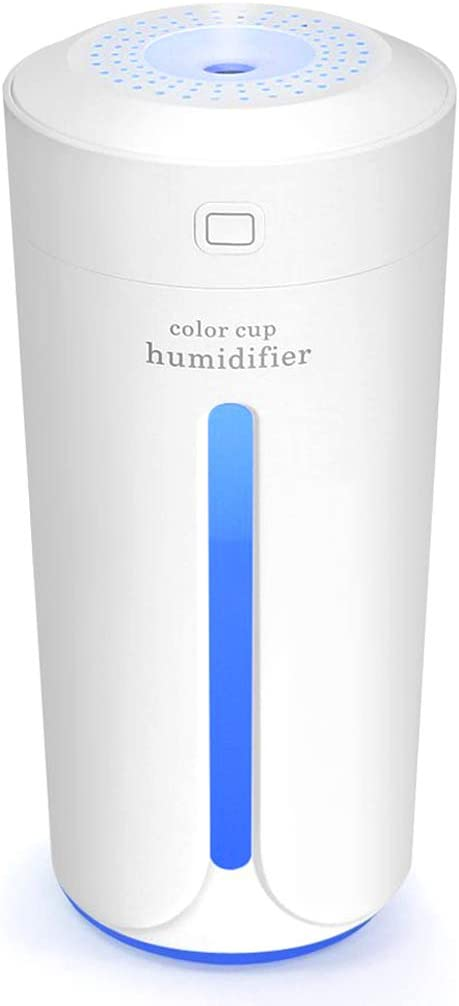 YinQin 230ML Portable USB Mini Air Humidifier 7 Color LED Lights Changing Mini Humidifier for Office Desk Bedroom Home Babies Kids Cars Cool Mist Mini Humidifier Travel Humidifier Quiet White