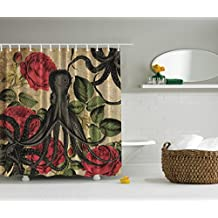 Fabric Extra Long 84 Inch Shower Curtain Octopus Roses Leaves Tentacles Kraken Vintage Rustic Retro Print Fashionable Modern Bathroom Decorative, Red Green Gray Beige