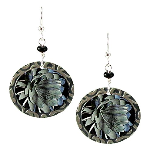 Earth Dreams Handmade Painted Night Blooming Cereus Dangle Earrings Plated Surgical Steel Wires