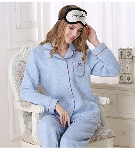 Sunshine Fashion Simple Autumn and Winter Cotton Interlayer Warmly Pajamas bedgown Long Sleeved Nightgown Sleepwear Set by Sunshine (Image #2)