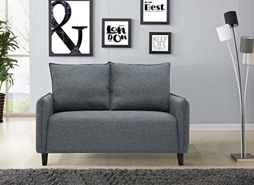 US Pride Furniture S5197 Modern Fabric Loveseat with Two Reversible Back Pillow, Dark Grey