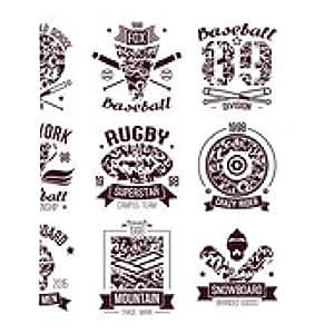 alfombrilla de ratón Béisbol, rugby, snowboard, emblemas del deporte del monopatín de la universidad - rectangular - 23cm x 19 cm