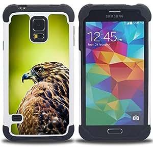 """SAMSUNG Galaxy S5 V / i9600 / SM-G900 - 3 en 1 impreso colorido de Altas Prestaciones PC Funda chaqueta Negro cubierta gel silicona suave (Halcón Pájaro Verde Enfoque borroso verano"""")"""