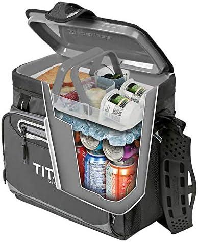 Plegable Capacidad 16 Latas TITAN Nevera PORTATIL 2000546 Gris//Verde Compartimento Interior