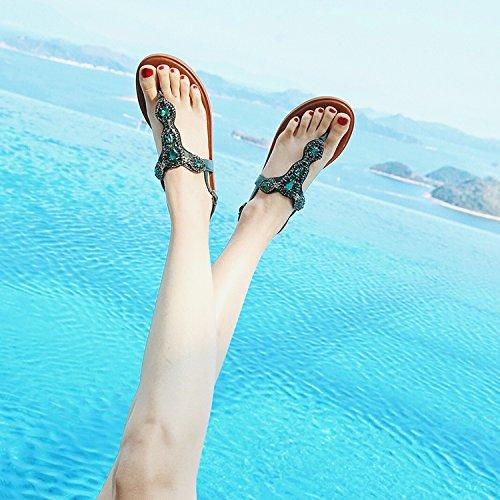 Das Das Das Seaside böhmischen Sandalen Studentin Sommer-Leder clip pin Badeschuhe clip durchschritten und Rom a72d3b