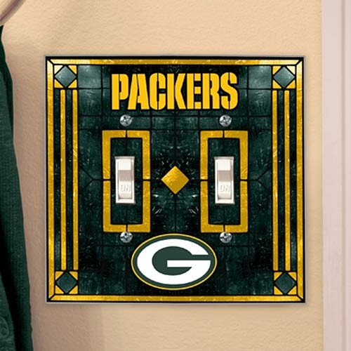 Green Bay Packers - NFL Art Glass Double Switch Plate Cover ()