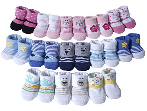Newborn Baby 3Pairs Booties Socks Gift set(Neutral Star Bear Button (Bear Button)