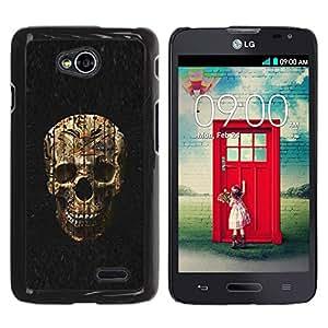 GOODTHINGS Funda Imagen Diseño Carcasa Tapa Trasera Negro Cover Skin Case para LG Optimus L70 / LS620 / D325 / MS323 - cráneo malvado death metal de Halloween