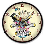Collectable Sign and Clock 711165 14'' Tattoo Girl in Glass Lighted Clock