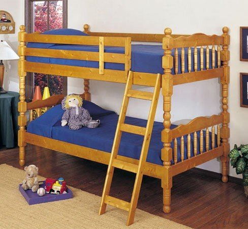 Honey Oak Finish Twin/Twin Convertible Wooden Bunk Bed