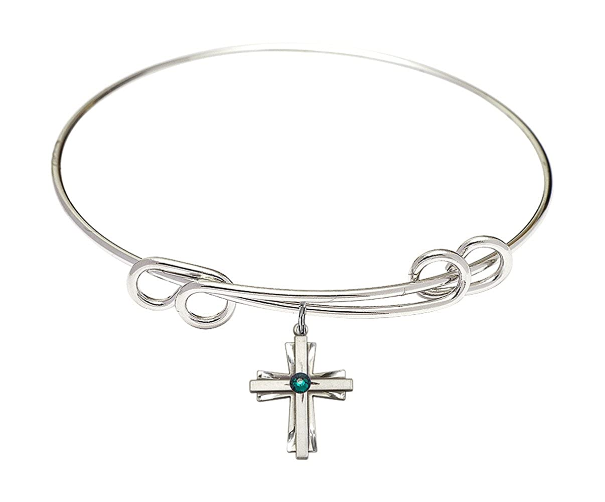 DiamondJewelryNY Double Loop Bangle Bracelet with a Cross Charm.