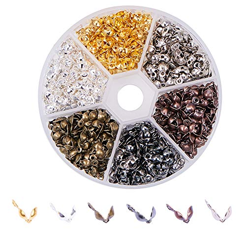 Pandahall 1 Box 8x4mm 6 Color Iron Bead Tips Nickel Free