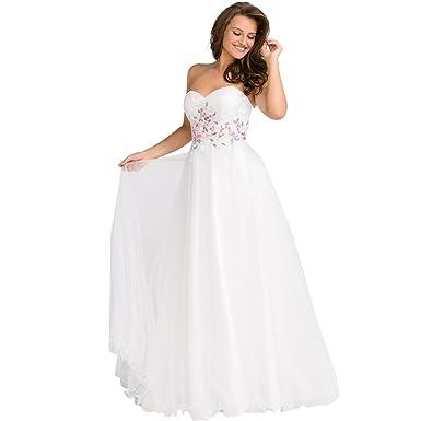 JVN by Jovani Womens Rhinestone Strapless Formal Dress - White -