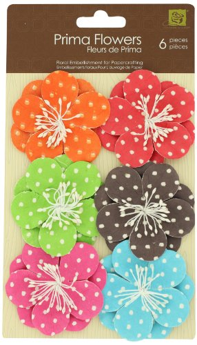 Prima 201401 Polka Dots Paper Flower Embellishments 5, 2-Inch ()