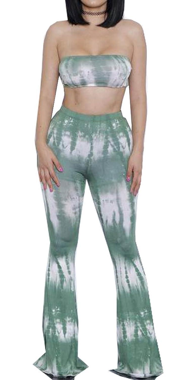 Honey GD Floral Womens Comfy Chic Bell Bottom Wide Leg Pants Suit