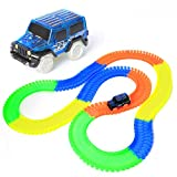 HStoys 220Pcs Magic Race Track Glow in the Dark Flexible Race Car Track With Light Up LED Car Set Toddler Toys (220pcs)