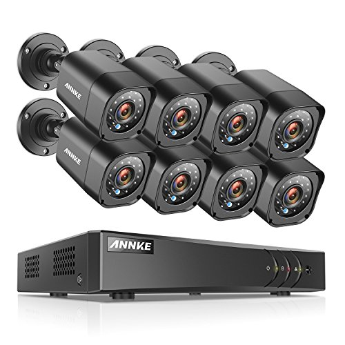 ANNKE® 16CH 1080P Lite Security Camera System and (8) 1.0MP 1280TVL Weatherproof CCTV Cameras, P2P Technology, Motion Detection & Alarm Push, Enable H.264+ to Record longer, Save money (NO HDD)