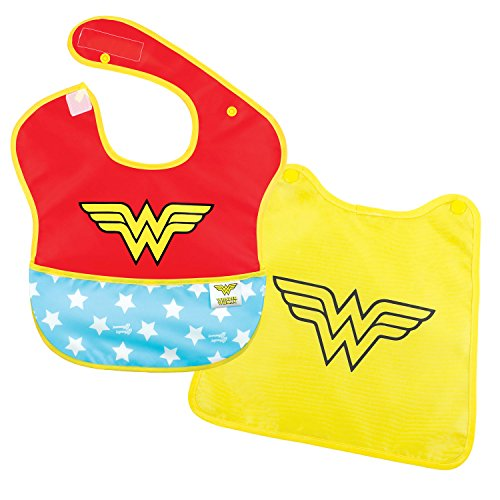 Bumkins DC Comics Wonder Woman SuperBib, Baby Bib, With Cape, Waterproof, Washable, Stain and Odor Resistant, 6-24 Months