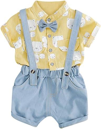 FELZ Ropa Bebe Niño Pijama Verano Recién Nacido Oso de Dibujos Animados Impreso Bolsillo Arco Camisa + Pantalones de Liga Conjunto de ropa/2pc Original Ropa de bebé: Amazon.es: Ropa y accesorios